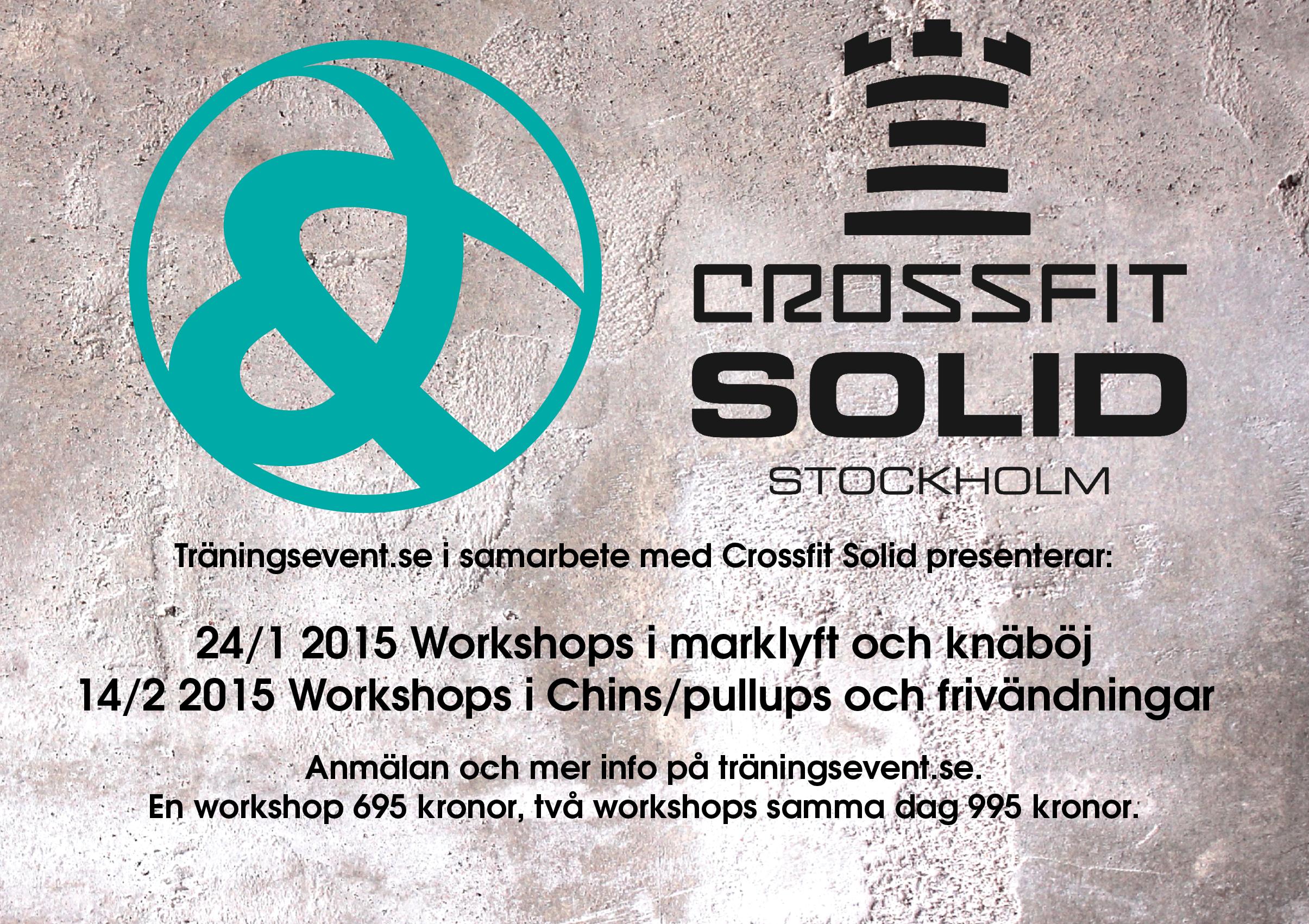 Workshops introbild Workshops i marklyft, frivändningar, chins och benböj!