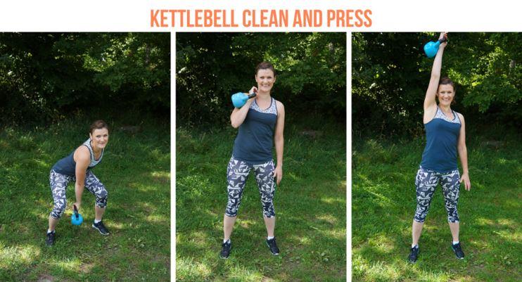 kettlebbell träningspass clean and press