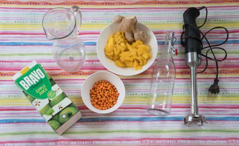juice med ingefära och havtorn